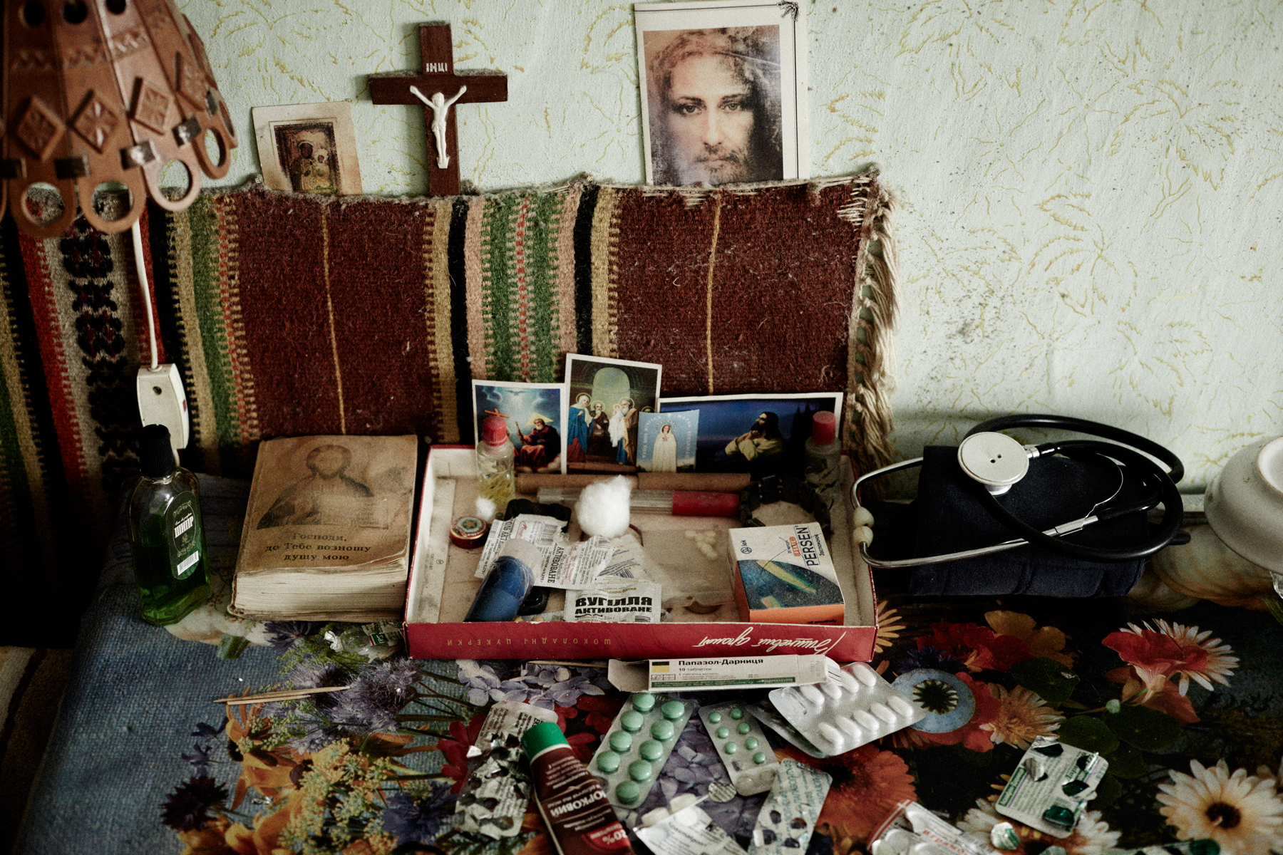Medicine and religious items, Kalush, February 2014
