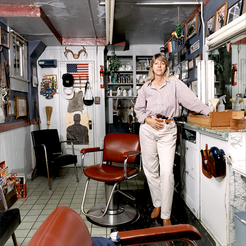 Barber Sandra Wolf with .38 caliber Lady Smith and Wesson, Long Beach, California, 1993.