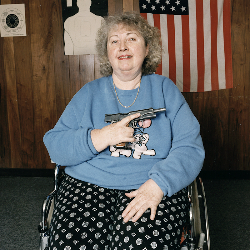 Gail with .45 caliber Colt Gold Cup National Match, 1994.