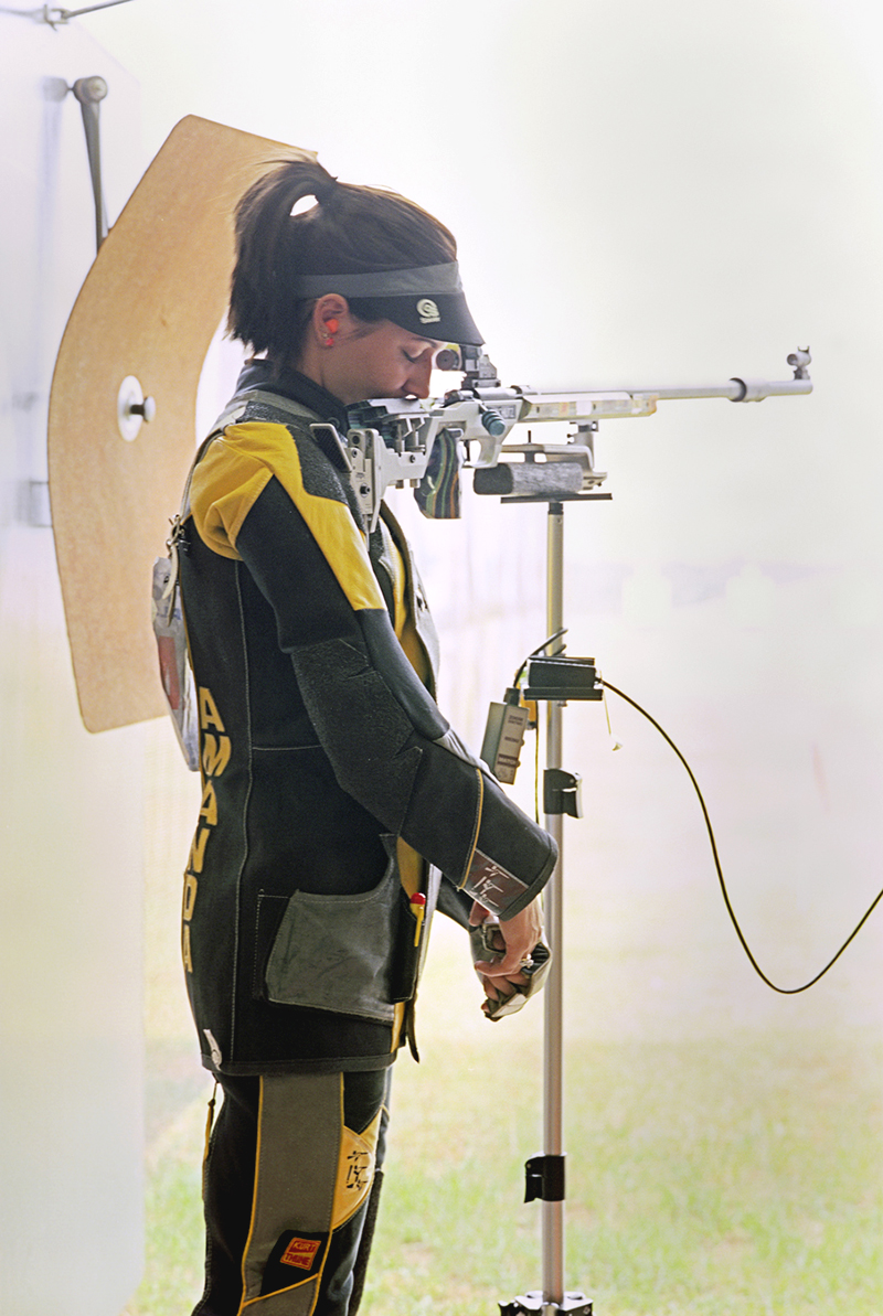 Amanda Furrer with Anshutz 1913 Rifle, The Women's 50m rifle 3 position competition, U.S. Olympic Team Trials, Fort Benning, Georgia, 2008.