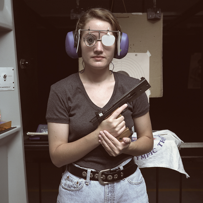 Pistol Competition Shooter Jacqueline Morton with Hammerli 208, Practicing for Year 2000 Olympics, Lax Firing Range, Los Angeles, California, 2006.