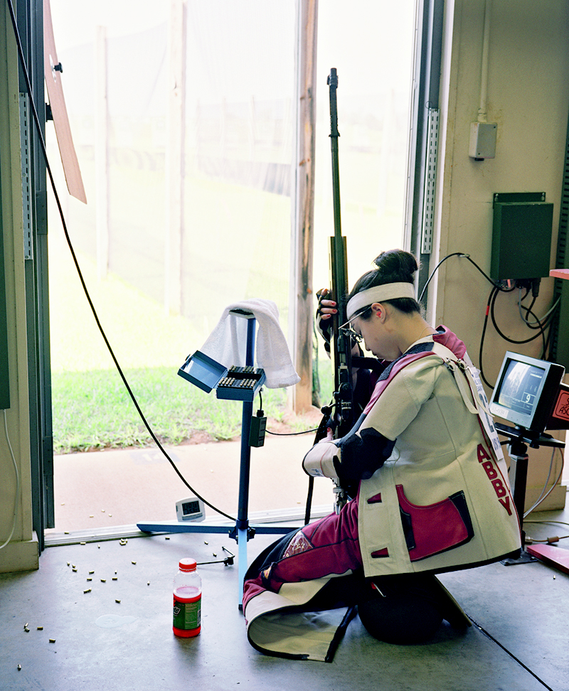 Sixteen-year-old Sandy Fong with Anshutz 1913 Rifle, The Women's 50m rifle 3 position competition, U.S. Olympic Team Trials, Fort Benning, Georgia, 2004.