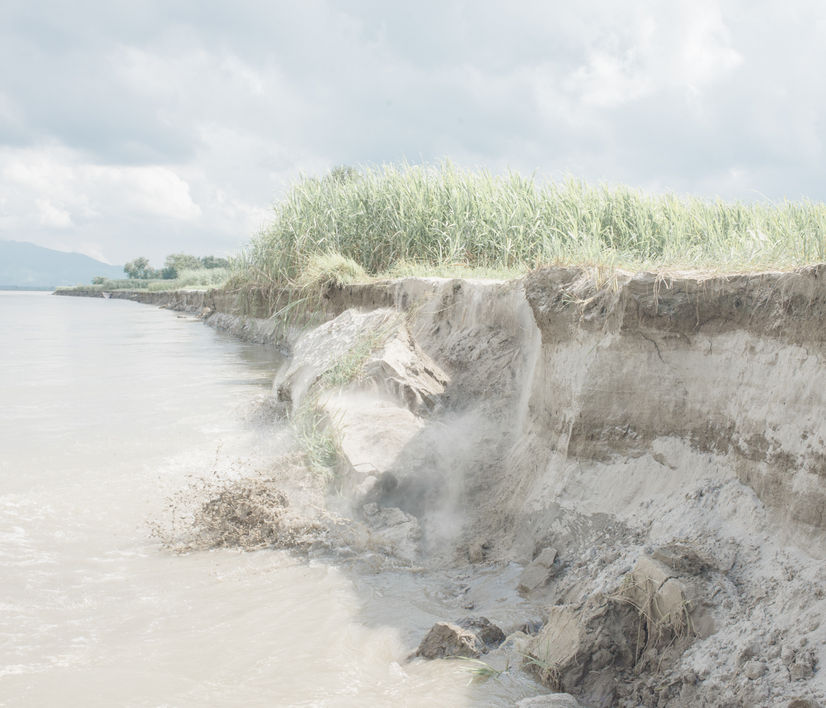 Erosion is a very common scene during the monsoon and even when the water level subsides. People say that around 100 m of farm land has been breached by the river this year alone.