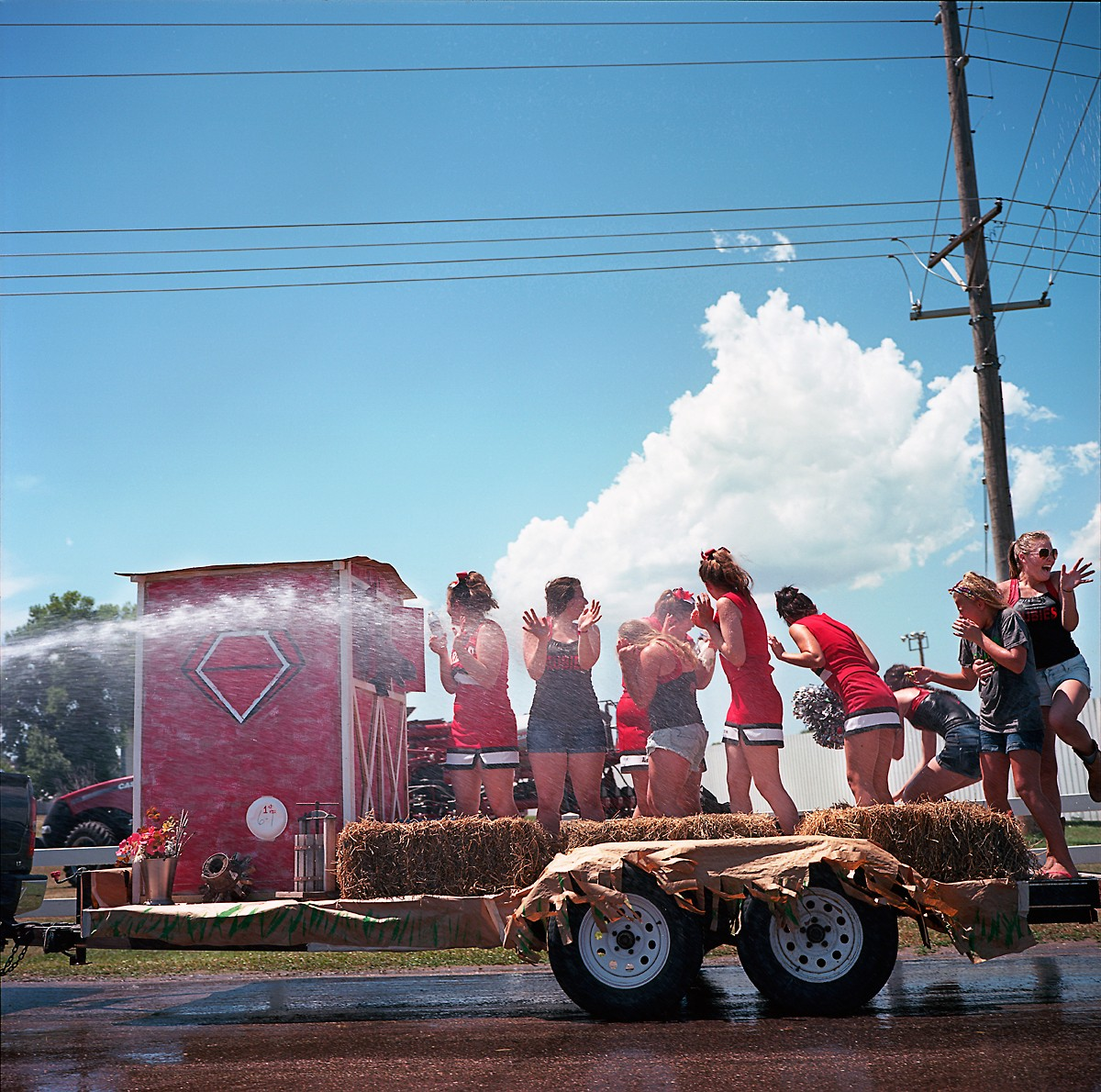 A parade float heads back to a parking lot following a parade in Albion, Nebraska at the Boone County Fair. Albion is four miles from where the proposed Keystone XL pipeline would be constructed.