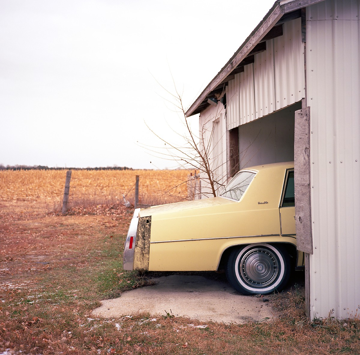 "An old Cadillac sits in the garage of Terry ""Stix"" Steskal in Stuart, NE. Steskal owns property that is in the path of the proposed Keystone XL pipeline."