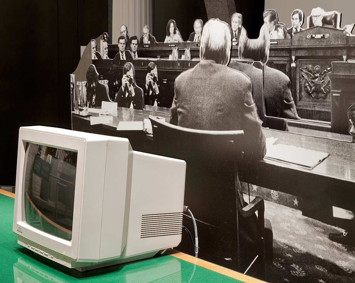 """Double Judiciary"" (Grand Rapids, MI), Archival Pigment Print, 22x27"" and 28x34"", 2012. Replica of Congressional Hearing room with display asking museum visitors to act as a jury, Gerald R. Ford Presidential Museum (Grand Rapids, MI)."