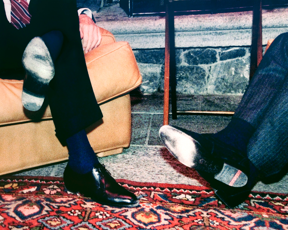 """Oxfords"", Archival Pigment Print, 22x27"" and 28x34"", 2012. Detail of a photograph of Reagan and Gorbachev meeting at the first summit in Geneva, Ronald Reagan Presidential Museum (Simi Valley, CA)."
