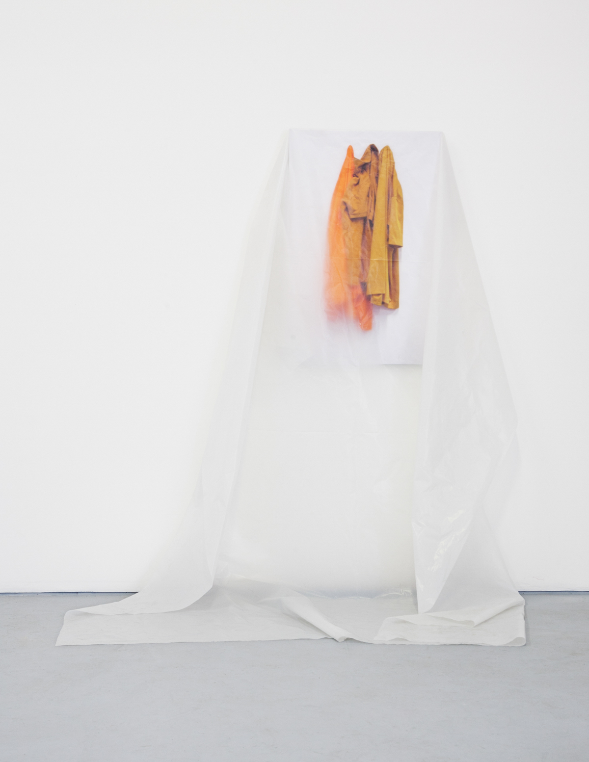 "Official Culture, 2013, Plastic Sheeting, Inkjet Print, 73"" x 48"" x 16"""