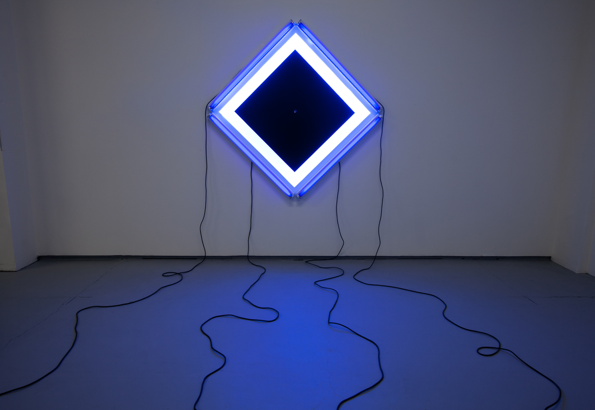 "Ultraviolet Panic, 2012, Blacklights, 50' Extension Cords, Inkjet Print, 42"" x 42"""