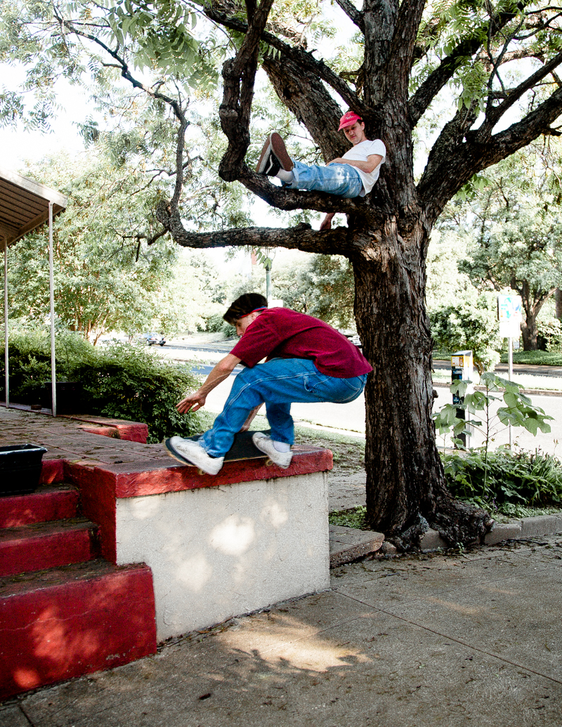 James lounges in tree as Zach grinds ledge