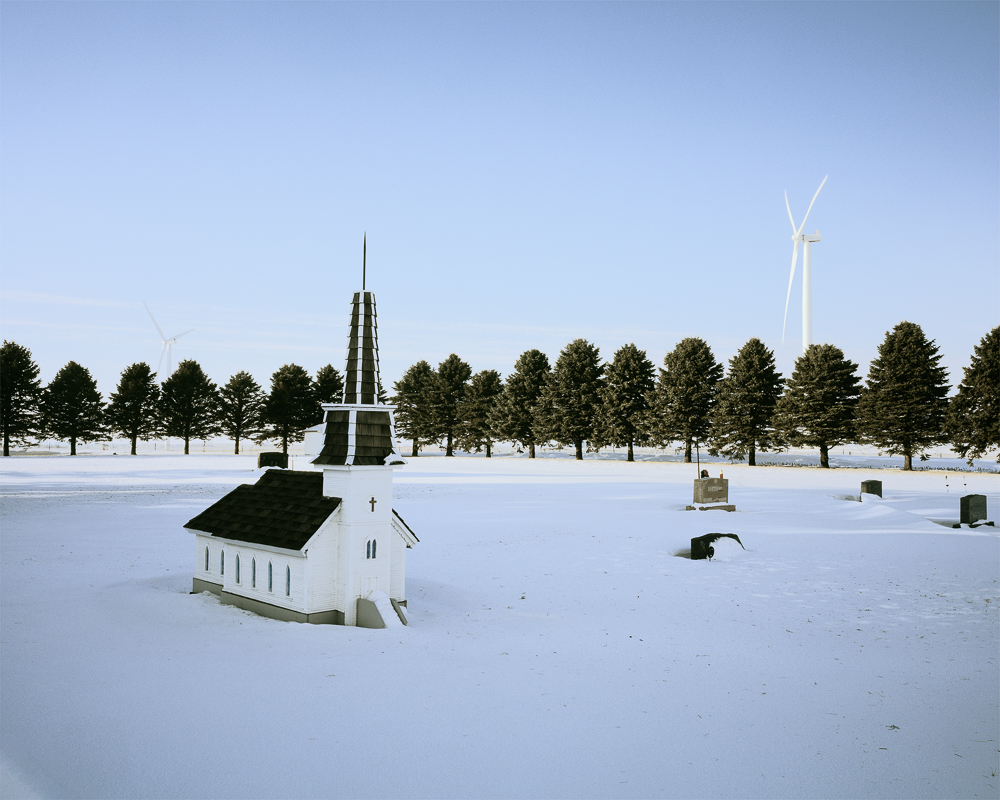 Miniature Church, Elk Creek Cemetery, Barton Wind Farm, Worth County Iowa (BWF0309), 2013