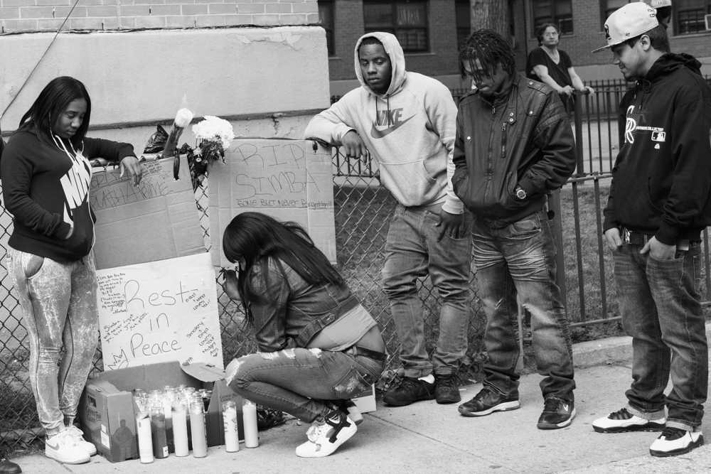 Gang members and friends mourn the dead of Simbaa who died after being stabbed 20 times on the chest in Williamsburg-Brooklyn. dead has become something familiar to gang members, memorial ceremonies and visits to the hospital are common and they always live with the fear of who is gonna be the next one.