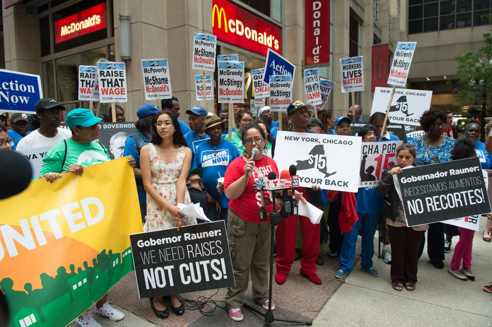 Dora Peña at Fight for Fifteen rally, Downtown Chicago