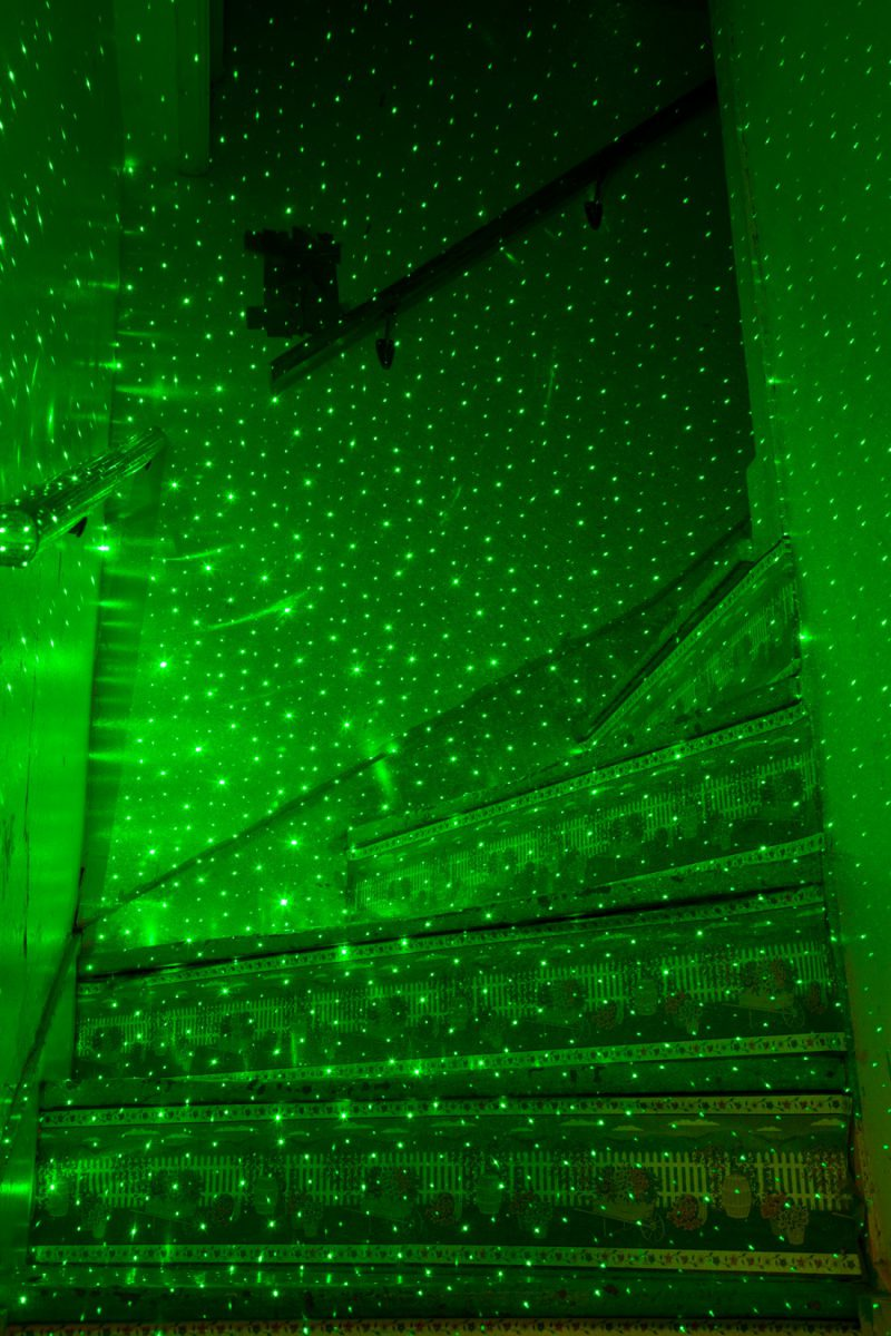 Green Lasers in Stairwell, 2015